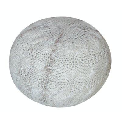 Karter Round Wool Pouf Ottoman Upholstery: Ivory