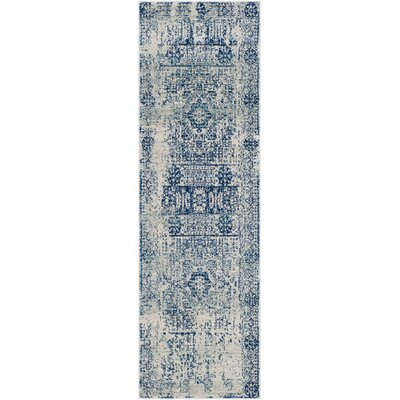 Huma Ivory/Blue Area Rug Rug Size: Runner 22 x 7