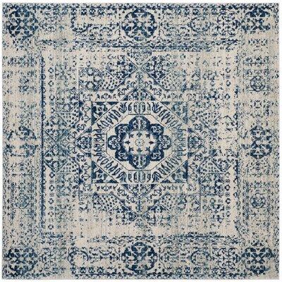 Huma Ivory/Blue Area Rug Rug Size: Square 51