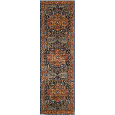 Battista Blue/Orange Area Rug Rug Size: Runner 22 x 11