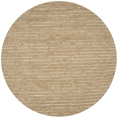Makhi Hand-Knotted Beige Area Rug Rug Size: Round 8