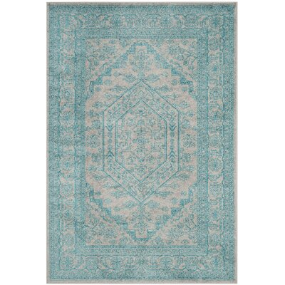 Norwell Light Gray/Teal Area Rug Rug Size: Runner 26 x 8