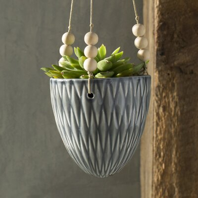 Floreana Ceramic Hanging Planter Color: Gray