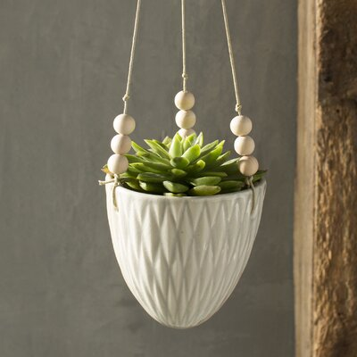 Floreana Ceramic Hanging Planter Color: Cream
