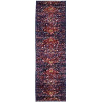 Ameesha Blue/Fuchsia Area Rug Rug Size: Runner 22 x 11