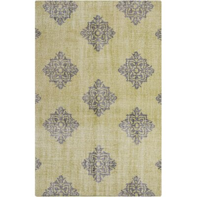Ritesh Damask Lime Area Rug Rug size: Rectangle 2 x 3