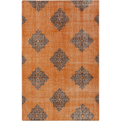 Ritesh Damask Burnt Orange Area Rug Rug size: Rectangle 36 x 56