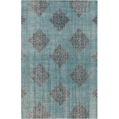 Ritesh Damask Teal Area Rug Rug size: Rectangle 56 x 86