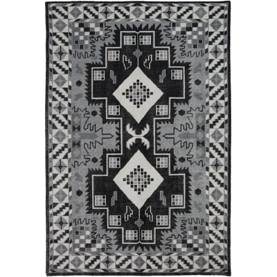 Drachten Gray/Black Area Rug Rug Size: Rectangle 2 x 3