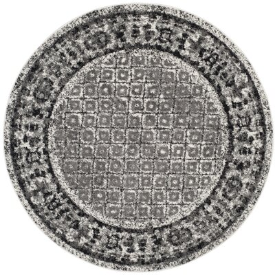 Norwell Ivory / Silver Area Rug Rug Size: Round 8