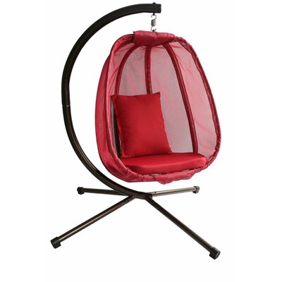 Egg Swing Chair with Stand Color: Red
