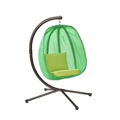 Egg Swing Chair with Stand Color: Green