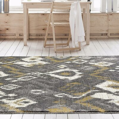Thornton Gray/Yellow Indoor/Outdoor Area Rug Rug Size: 52 x 72