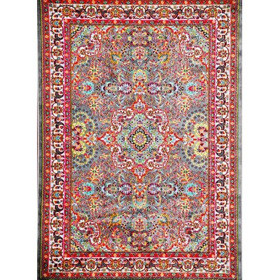 Becker Gray/Red Area Rug Rug Size: 2 x 3