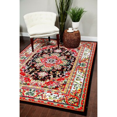 Dunlap Black/Red Indoor/Outdoor Area Rug Rug Size: 2 x 3