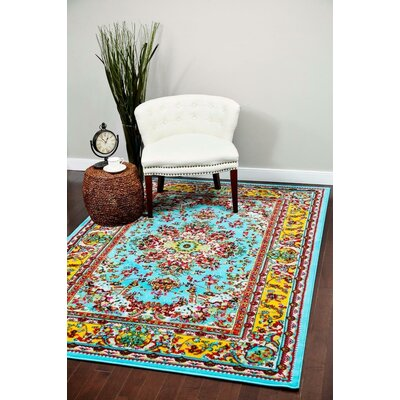 Dunlap Blue/Yellow Indoor/Outdoor Area Rug Rug Size: 8 x 10