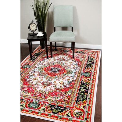 Thornton Ivory/Red Indoor/Outdoor Area Rug Rug Size: 8 x 10