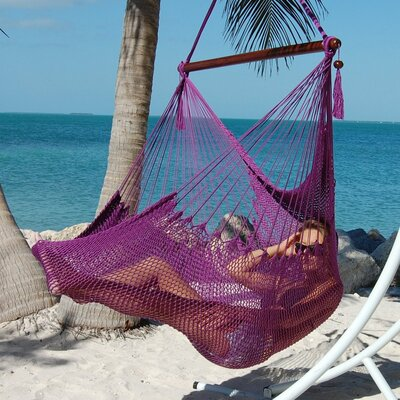 Travis Large Caribbean Polyester Chair Hammock Color: Purple
