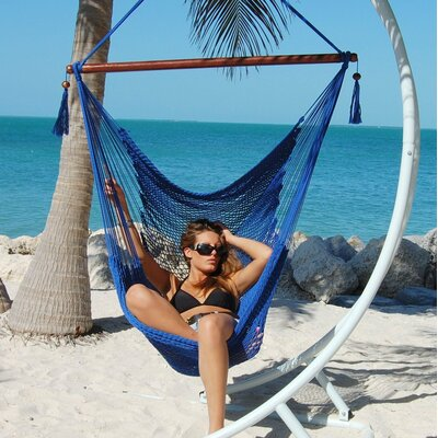 Travis Large Caribbean Polyester Chair Hammock Color: Dark Blue