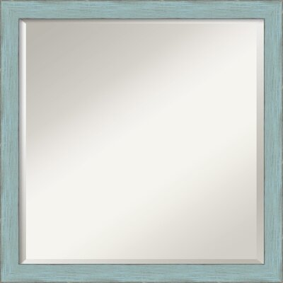 Square Rustic Wall Mirror Finish: Sky Blue
