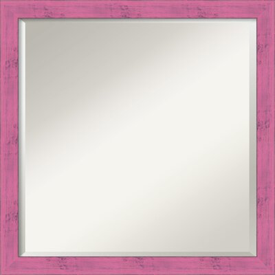 Square Rustic Wall Mirror Finish: Petticoat Pink