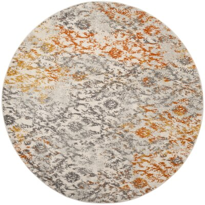Loretta Gray/Orange Area Rug Rug Size: Round 7