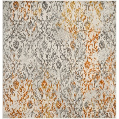 Loretta Gray/Orange Area Rug Rug Size: Square 7