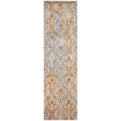 Grieve Gray/Orange Area Rug Rug Size: Runner 23 x 8