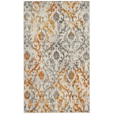 Grieve Gray/Orange Area Rug Rug Size: Rectangle 3 x 5