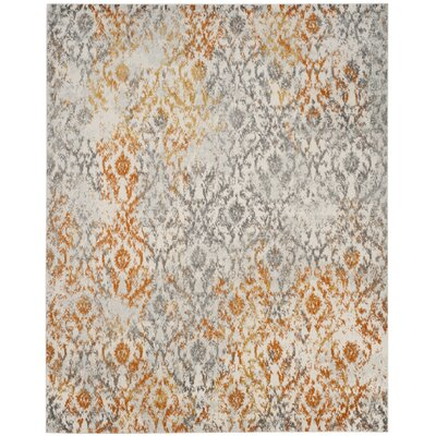 Loretta Gray/Orange Area Rug Rug Size: 8 x 10