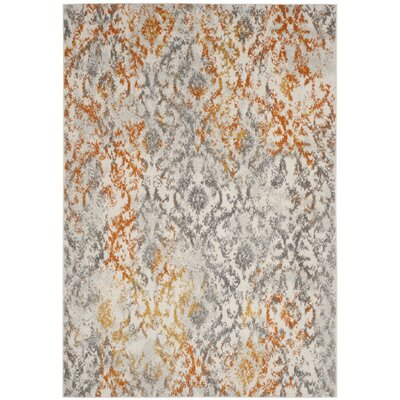 Loretta Gray/Orange Area Rug Rug Size: 51 x 76