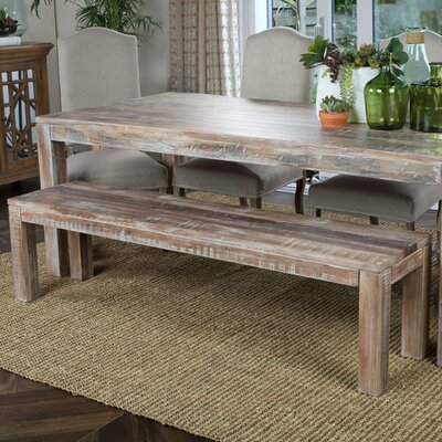Harbor Wood Dining Bench Finish: Lime Wash