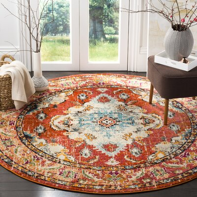 Shakti Orange/Light Blue Area Rug Rug Size: Round 5 x 5