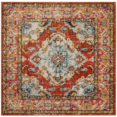 Shakti Orange/Light Blue Area Rug Rug Size: Square 5 x 5