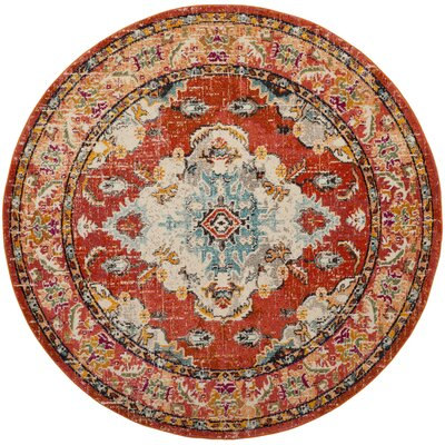 Newburyport Orange Area Rug Rug Size: Round 67 x 67