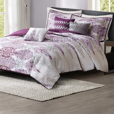 Conrad 6 Piece Quilt Set Size: Full / Queen, Color: Purple