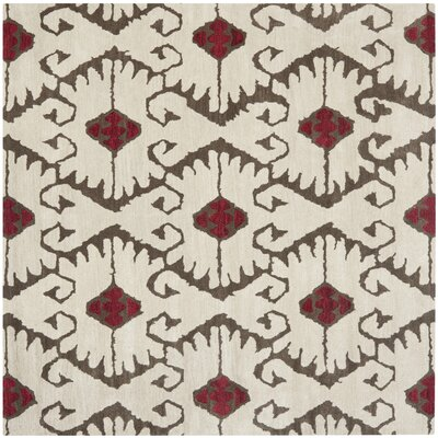 Kouerga Ivory Brown Area Rug Rug Size: Square 7