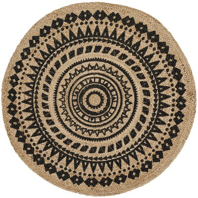 Johnson Hand-Woven Black/Natural Area Rug Rug Size: Round 4 x 4