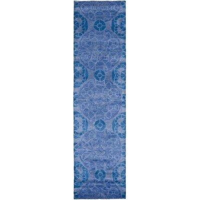 Kouerga Handmade Wool Blue Area Rug Rug Size: Runner 23 x 15