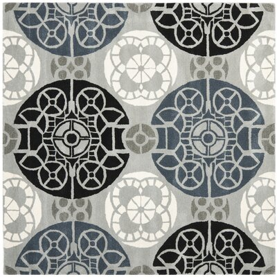 Kouerga Grey / Black Rug Rug Size: Square 7