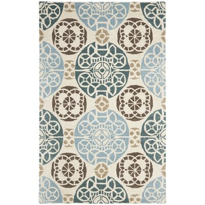 Kouerga Hand-Tuffed Wool Blue/Beige Area Rug Rug Size: Rectangle 89 x 12