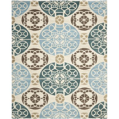 Kouerga Hand-Tuffed Wool Blue/Beige Area Rug Rug Size: Rectangle 8 x 10