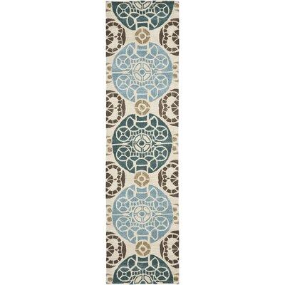 Kouerga Hand-Tuffed Wool Blue/Beige Area Rug Rug Size: Runner 23 x 9