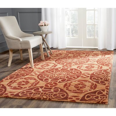 Kouerga Hand-Tufted/Hand-Hooked Rust/Orange Area Rug Rug Size: Rectangle 4 x 6