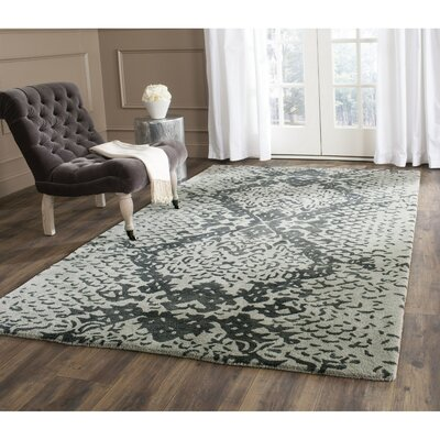 Kouerga Hand-Tufted Gray/Black Area Rug Rug Size: Rectangle 26 x 4