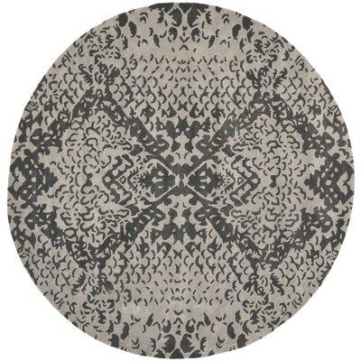 Kouerga Hand-Tufted Gray/Black Area Rug Rug Size: Round 7