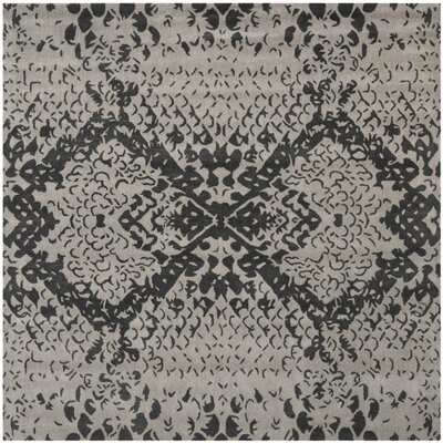 Kouerga Hand-Tufted Gray/Black Area Rug Rug Size: Square 7
