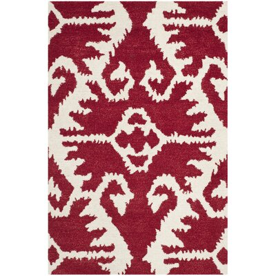 Kouerga Red Area Rug Rug Size: Rectangle 4 x 6