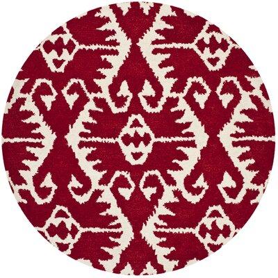 Kouerga Red Area Rug Rug Size: Round 5