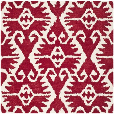 Kouerga Red Area Rug Rug Size: Square 5'